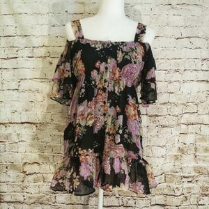 Boston Proper Floral Rifle cold shoulder dress